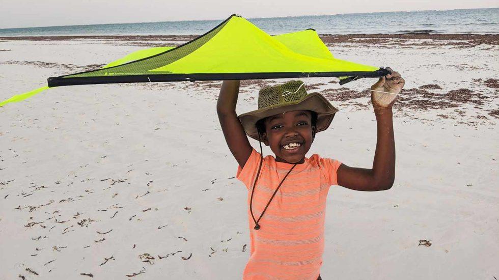 Kiting at the beach
